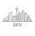seattle city skyline - towers and landmarks of vector image vector image