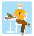 senior man with electronic devices vector image