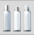 set - 3d realistic foam bottles with caps vector image