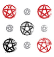 Set of hand drawn pentagram icons scanned and vector image vector image