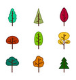set of monochrome icons with trees vector image