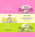 set of tricycle street food bike horizontal vector image