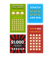 set various tickets for lottery prize vector image vector image
