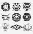 set vintage baseball logo icon emblem badge vector image