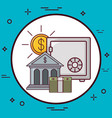 strongbox and money design vector image vector image
