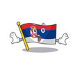 surprised flag serbia mascot shaped on cartoon vector image vector image