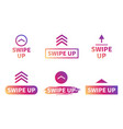 swipe up set buttons for social media arrows vector image vector image