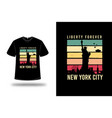t-shirt liberty forever new york city color pink vector image vector image
