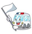 with flag ambulance mascot cartoon style vector image
