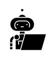 writing robot line icon concept sign outline vector image vector image
