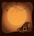 halloween background with witch hat and spider web vector image