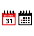 31 December calendar icon vector image