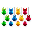 3d fir tree toys with bow for new year xmas vector image