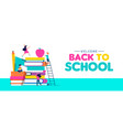 Back to school web banner of children and books