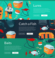 banners with cartoon fishing vector image