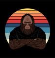 bigfoot fierce face sunset retro vector image vector image
