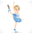 Blond ballerina girl dancing in blue dress vector image vector image
