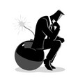 businessman sitting on a bomb while thinking vector image vector image