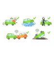 car insurance set different types auto vector image vector image