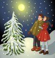 children in snowy landscape vector image vector image