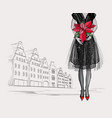 Christmas and new year fashion card city