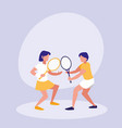 couple practicing tennis avatar character vector image vector image