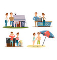 couple vacation compositions set vector image vector image