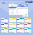 desk calendar 2019 simple colorful gradient vector image vector image