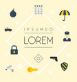 flat icons parasol camera padlock and other vector image vector image