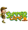 font design for word summer camp with girl and vector image vector image