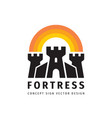 fortress concept logo design castle sign tower vector image vector image