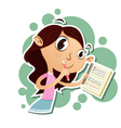 girl taking notes vector image vector image