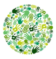 Go green hands circle vector image vector image