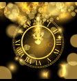 gold new years 2019 clock luxury greeting card vector image