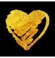 Golden glitter grunge heart isolated on black vector image vector image