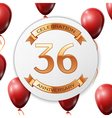 Golden number thirty six years anniversary vector image vector image