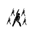group fitness black icon sign on isolated vector image