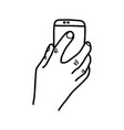 hand holding back of mobile phone vector image