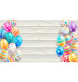 happy easter day easter eggs on white wood color b vector image