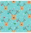 Happy smiling Christmas reindeer pattern vector image vector image