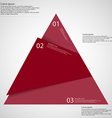Infographic template of triangle cut to three red vector image vector image