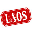 laos red square grunge retro style sign vector image vector image