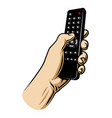 male hand hoilding tv remote control vector image