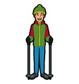 man with clothes snow hat and sticks ski vector image vector image