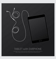 music earphones with tablet vector image