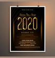 new year 2020 party flyer poster in black and vector image vector image