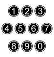 numbers symbols icons signs black and white set vector image