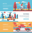 people transport flat banners vector image vector image
