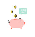 piggy bank with coins and speech bubble vector image