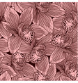 Pink and brown orchid flower seamless pattern vector image vector image